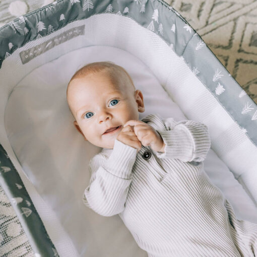Baby laying in their baby lounger on floor