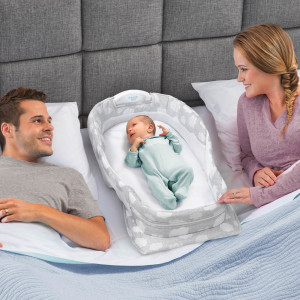 Snuggle Nest Surround Xl Infant Sleeper Silver Clouds