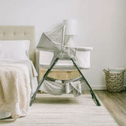 Grey bassinet with canopy in bedroom