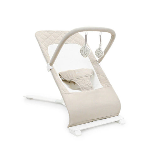 Organic Oat baby bouncer with toys hanging above