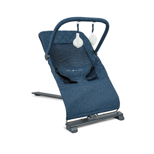 Indigo bouncer seat with toys hanging above