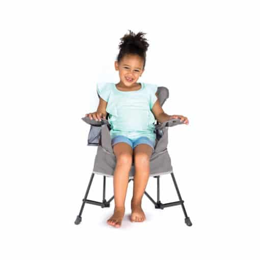 Baby Delight Go With Me - Grey Jubilee Chair and girl