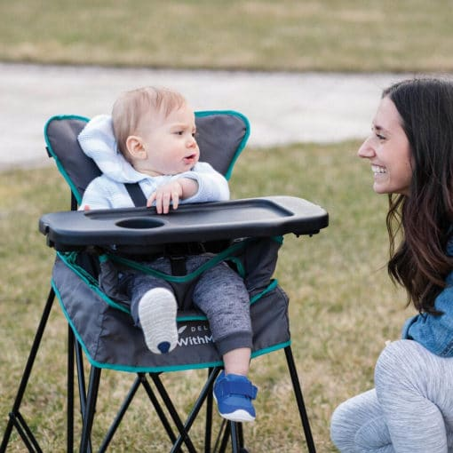 go with me uplift portable high chair in kitchen